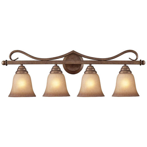 Lawrenceville 4-Light Vanity in Mocha With Antique Amber Glass