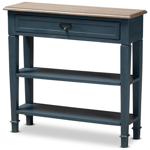 Baxton Studio Dauphine French Provincial Blue Spruce Wood Accent Console Table