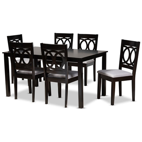 Baxton Studio Lenoir Upholstered Espresso Brown 7-Piece Dining Set