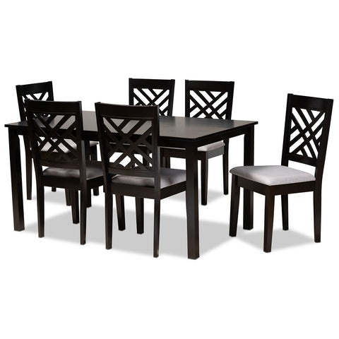 Baxton Studio Caron Upholstered Espresso Brown Wood 7-Piece Dining Set