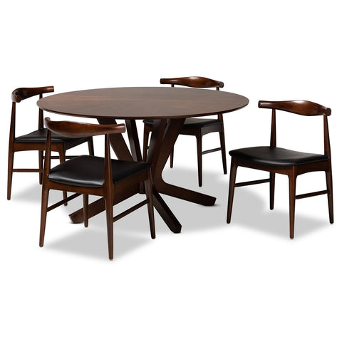 Baxton Studio Berlin Black Faux Leather Upholstered Walnut 5-Piece Dining Set