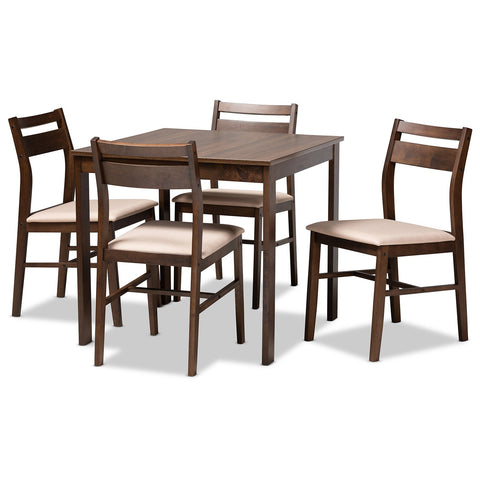 Baxton Studio Lovy Fabric Upholstered Dark Walnut 5-Piece Wood Dining Set