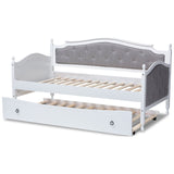 Baxton Studio Marlie Grey Fabric Wood Twin Size Daybed with Trundle