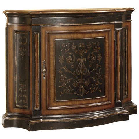 Vicenza Tall Waisted Shaped 1-Door Chest in Gesso Black and Gold