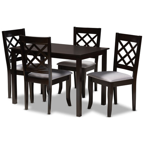 Baxton Studio Verner Fabric Espresso Brown 5-Piece Wood Dining Set