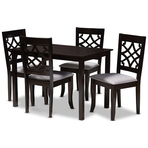 Baxton Studio Mael Fabric Espresso Brown 5-Piece Wood Dining Set