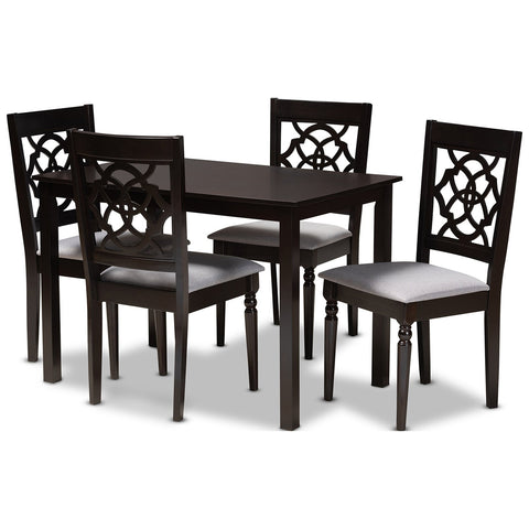 Baxton Studio Renaud Fabric Espresso Brown 5-Piece Wood Dining Set