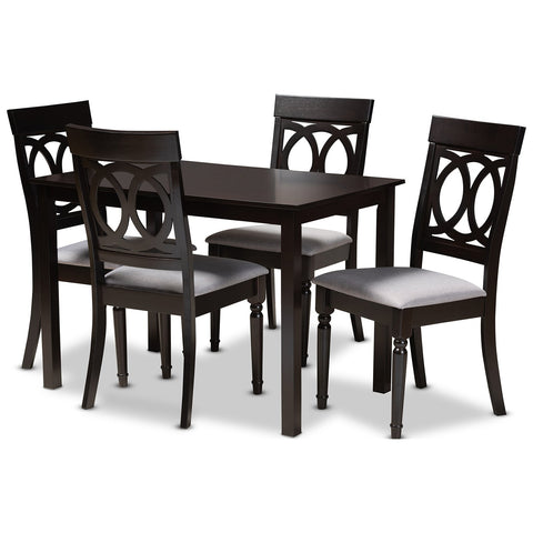 Baxton Studio Lucie Fabric Espresso Brown 5-Piece Wood Dining Set
