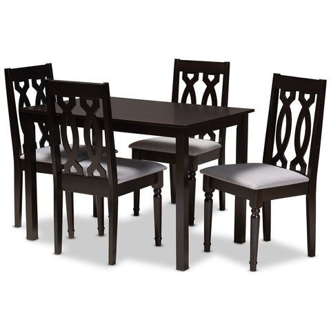 Baxton Studio Cherese Fabric Espresso Brown 5-Piece Wood Dining Set
