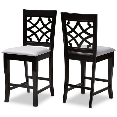 Baxton Studio Nisa Fabric Espresso Brown 2-Piece Wood Counter Stool Set