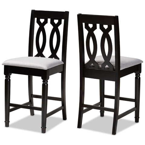 Baxton Studio Darcie Fabric Espresso Brown 2-Piece Wood Counter Stool Set