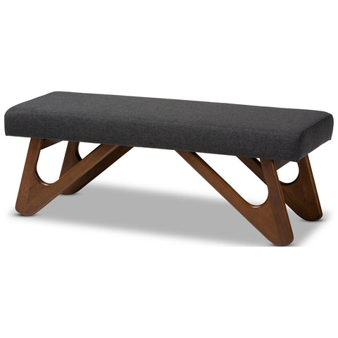 Baxton Studio Rika Fabric Walnut Brown Boomerang Bench