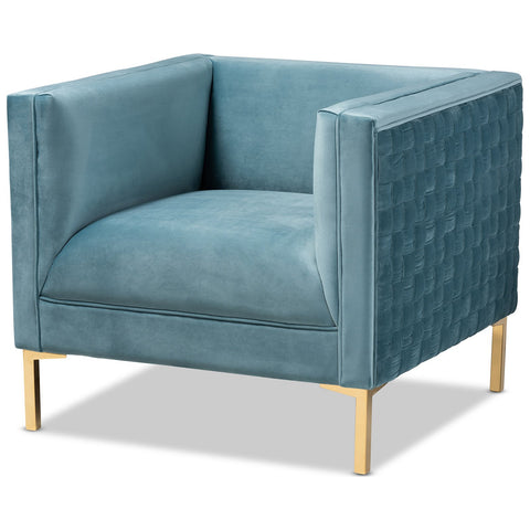 Baxton Studio Seraphin Glam and Luxe Velvet Fabric Gold Armchair