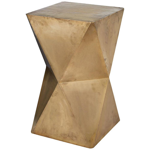 Faceted Stool with Brass Cladding in Gold
