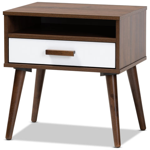 Baxton Studio Quinn Two-Tone White Walnut 1-Drawer Wood End Table