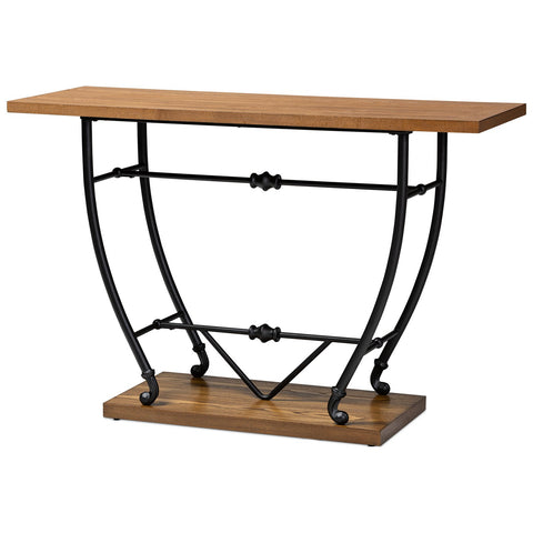 Baxton Studio Leigh Distressed Wood Entryway Console Table