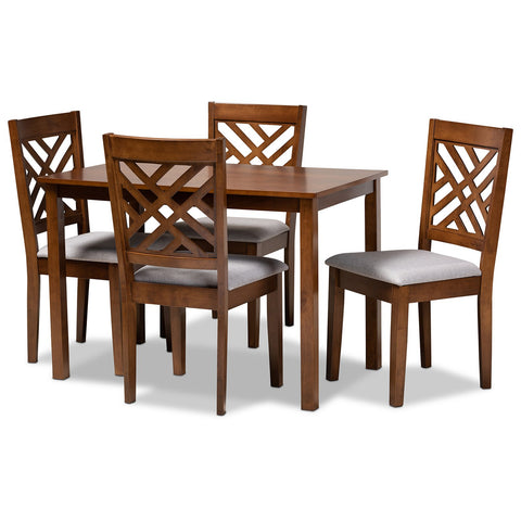 Baxton Studio Caron Grey Upholstered Walnut Brown 5-Piece Dining Set