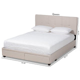 Baxton Studio Netti 2-Drawer Platform Storage Bed