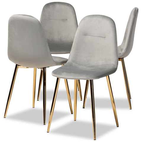 Baxton Studio Elyse Velvet Upholstered 4-Piece Metal Dining Chair Set
