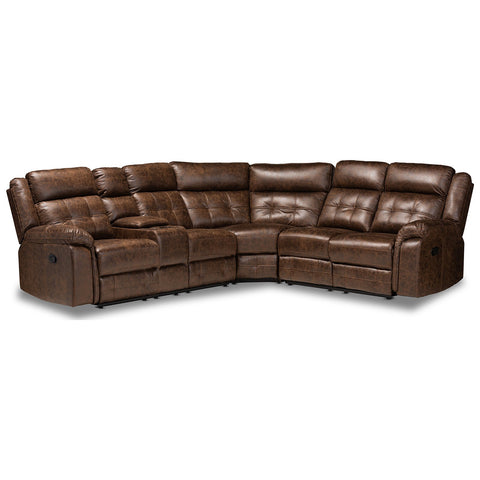Baxton Studio Vesa 6-Piece 2 Reclining Seats Sectional Recliner Sofa