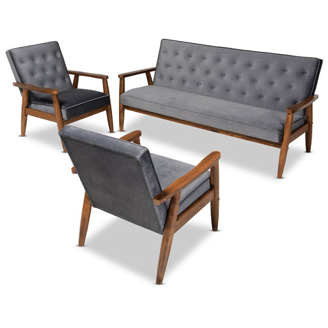 Baxton Studio Sorrento Upholstered Walnut 3-Piece Living Room Set