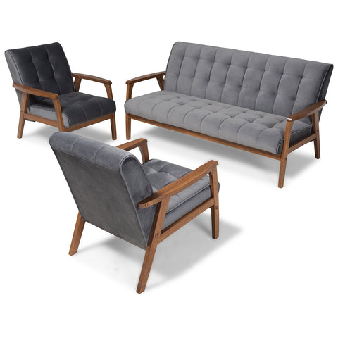 Baxton Studio Asta Velvet Upholstered Walnut 3-Piece Living Room Set