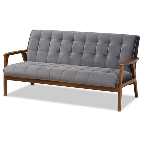 Baxton Studio Asta Velvet Upholstered Walnut Wood Sofa