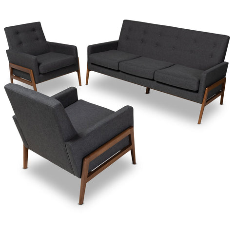 Baxton Studio Perris Upholstered Walnut Wood 3-Piece Living Room Set