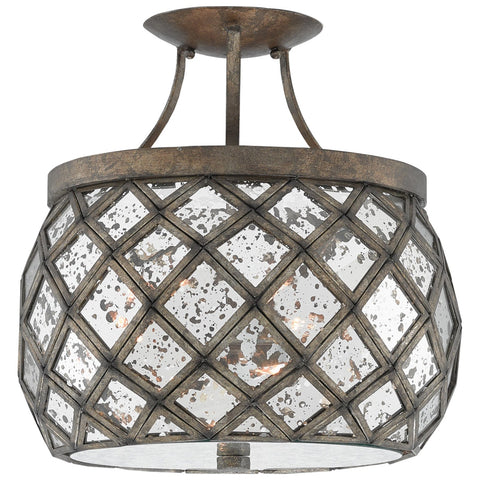 Buckminster Semi-Flush Mount in Pyrite Bronze and Raj Mirror