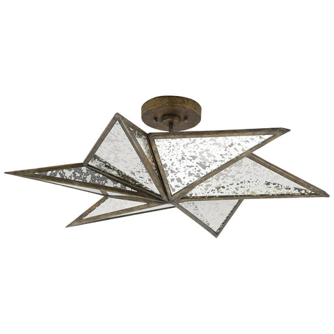 Stargazer Semi-Flush Mount in Pyrite Bronze and Raj Mirror
