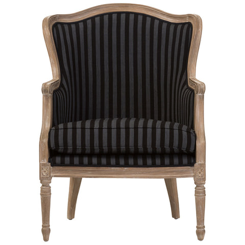 Baxton Studio Charlemagne Black and Grey Stripe Oak French Accent Chair
