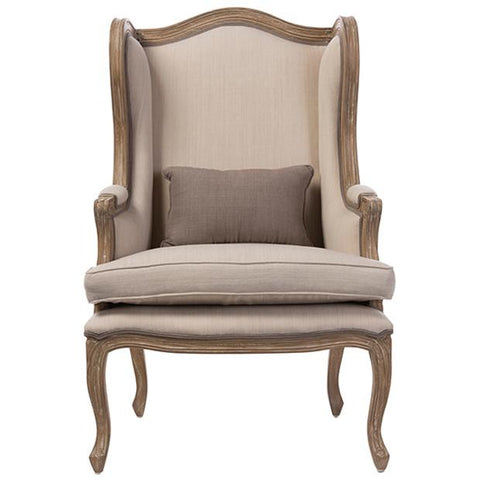 Oreille White Wash Distressed Two-tone Beige Upholstered Armchair