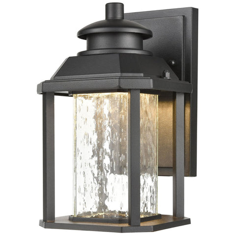 "Irvine 10"" Sconce in Matte Black with Seedy Glass"
