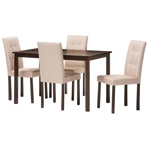 Andrew 5-Piece Fabric Upholstered Grid-tufting Dining Set
