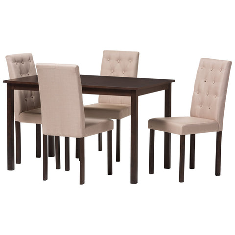 Baxton Studio Gardner 5-Piece Dark Brown Fabric Upholstered Dining Set