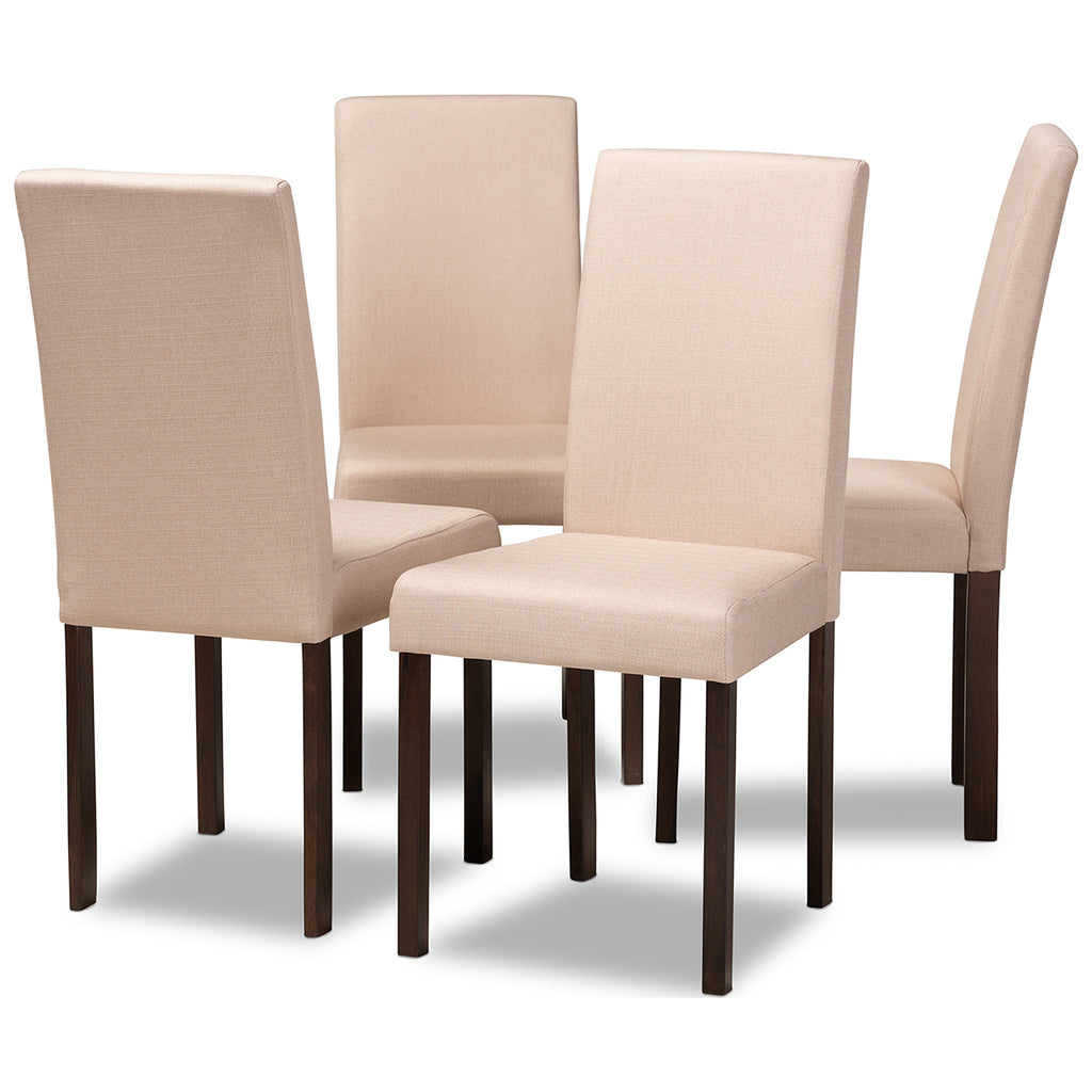 Andrew Contemporary Espresso Wood Beige Fabric Dining Chair, Set of 4