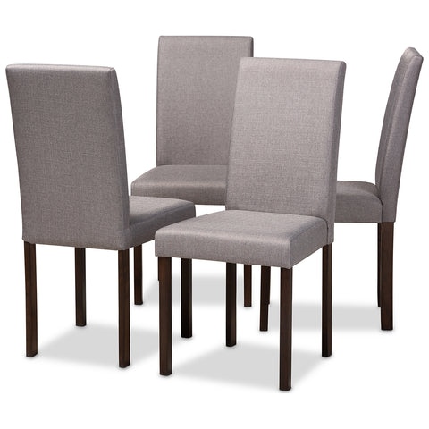 Baxton Studio Andrew Espresso Wood Grey Fabric Dining Chair, Set of 4