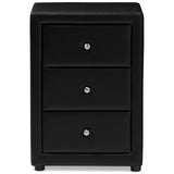 Baxton Studio Tessa Modern Faux Leather 3-Drawer Nightstand