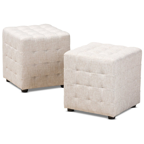Baxton Studio Elladio Fabric Tufted Cube Ottoman Set of 2