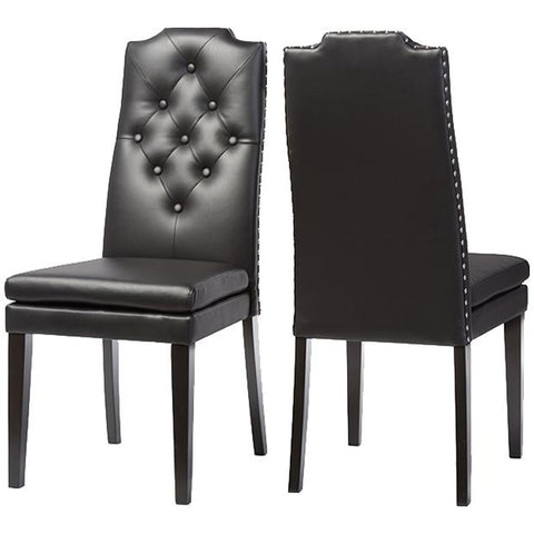 Dylin Faux Leather Button-Tufted Nail Heads Trim Dining Chair, Set of 2