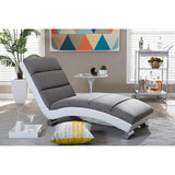 Percy Grey Fabric and White Faux Leather Upholstered Chaise Lounge