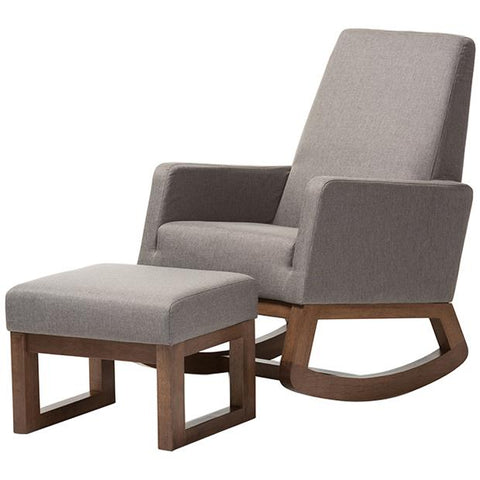 Yashiya Fabric Upholstered Rocking Chair and Ottoman Set