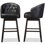 Avril Faux Leather Tufted Swivel Barstool with Nail Heads Trim, Set of 2
