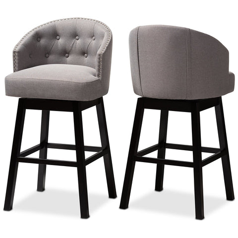 Baxton Studio Theron Fabric Upholstered Wood Swivel Bar Stool Set