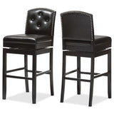 Ginaro Button-tufted Upholstered Swivel Bar Stool, Set of 2