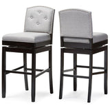 Ginaro Grey Fabric Button-tufted Upholstered Swivel Bar Stool, Set of 2