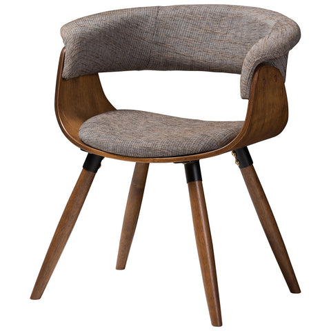 Baxton Studio Bryce Modern Grey Fabric Upholstered Walnut Bent Wood Dining Chair