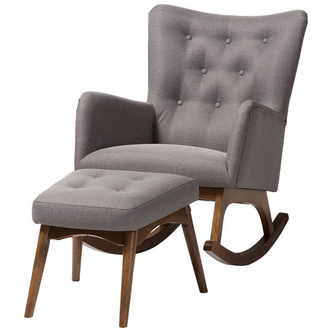 Baxton Studio Waldmann Grey Fabric Upholstered Rocking Chair and Ottoman Set