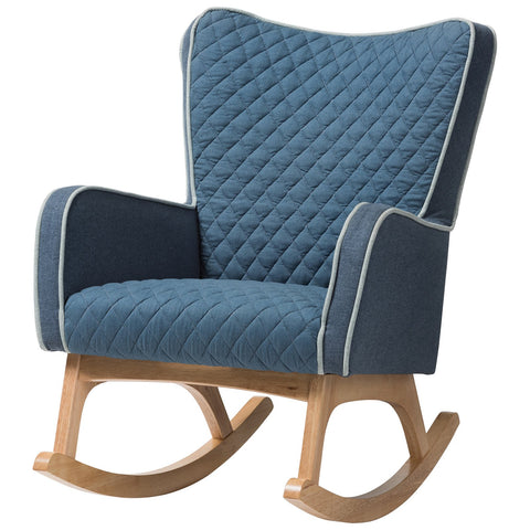 Baxton Studio Zoelle Blue Fabric Upholstered Natural Finished Rocking Chair