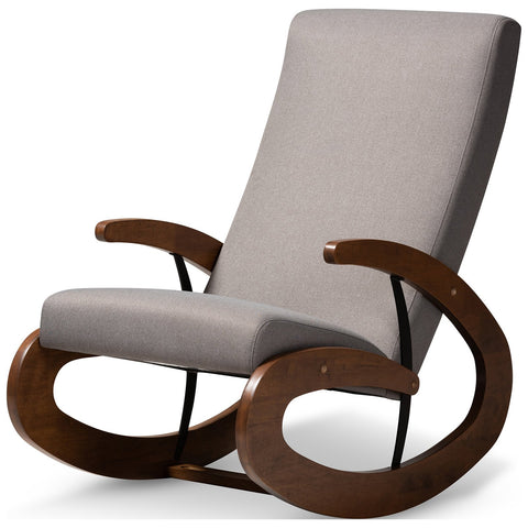 Baxton Studio Kaira Fabric Upholstered and Walnut Wood Rocking Chair